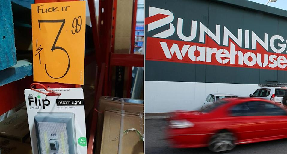 Bunnings Warehouse Rothwell sign fail: The hilarious sign (left) was spotted in Bunnings (right).