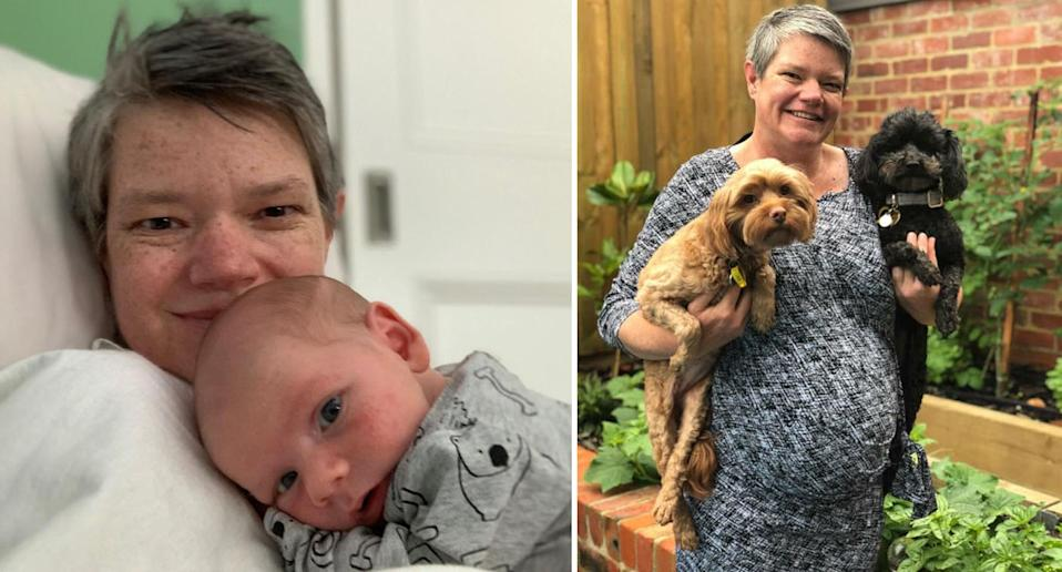 IVF mum Bec Passlow pictured left with her baby boy Valentine, and right with her dogs while pregnant. Source: Bec Passlow