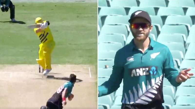 Seen here, Aussie skipper Aaron Finch was given a fortunate early reprieve against New Zealand.