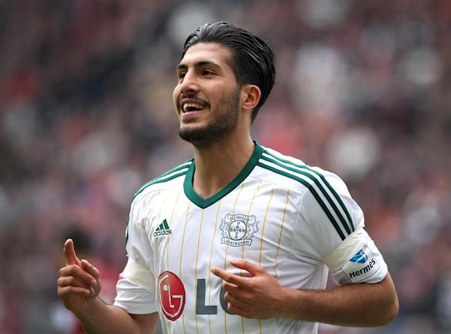 Former Leverkusen midfielder Emre Can during the German first division Bundesliga football match Eintracht Frankfurt vs Bayer Leverkusen in Frankfurt am Main, on May 3, 2014 (AFP Photo/Daniel Roland)