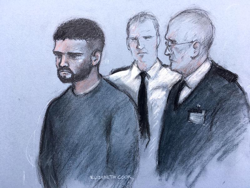 A court artist's impression sketch of Jed Foster appearing at Reading Magistrates Court charged with the murder of PC Andrew Harper (PA)