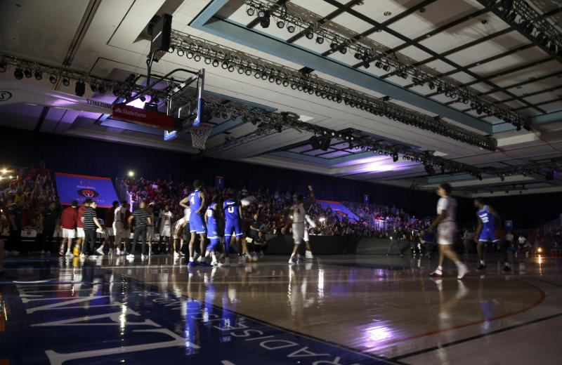 Nov 29, 2019; Nassau, BHS; The lights go out during the second half of the game between the Seton Hall Pirates and Iowa State Cyclones at Imperial Arena. Mandatory Credit: Kevin Jairaj-USA TODAY Sports