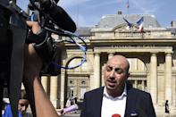 Director of the Collective Against Islamophobia in France (CCIF), Marwan Muhammad, speaks to journalists on August 26, 2016 in Paris, after France's highest administrative court suspended a ban on the Islamic burkini swimsuit (AFP Photo/Dominique Faget)