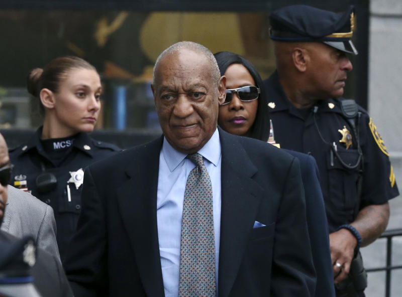FILE - In this Nov. 1, 2016 file photo, Bill Cosby leaves after a hearing in his sexual assault case at the Montgomery County Courthouse in Norristown, Pa. Cosby expects to be cleared of a criminal sexual assault charge and restart his entertainment career, his lawyer argues in a defamation lawsuit filed against him by seven women. Attorney Angela Agrusa is urging a judge to seal documents that contain information about Cosby's negotiated compensation for his performances and other personal financial information.  (AP Photo/Mel Evans, File)