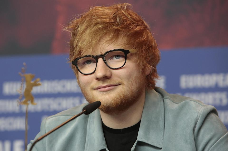 Ed Sheeran is photographed during a press conference