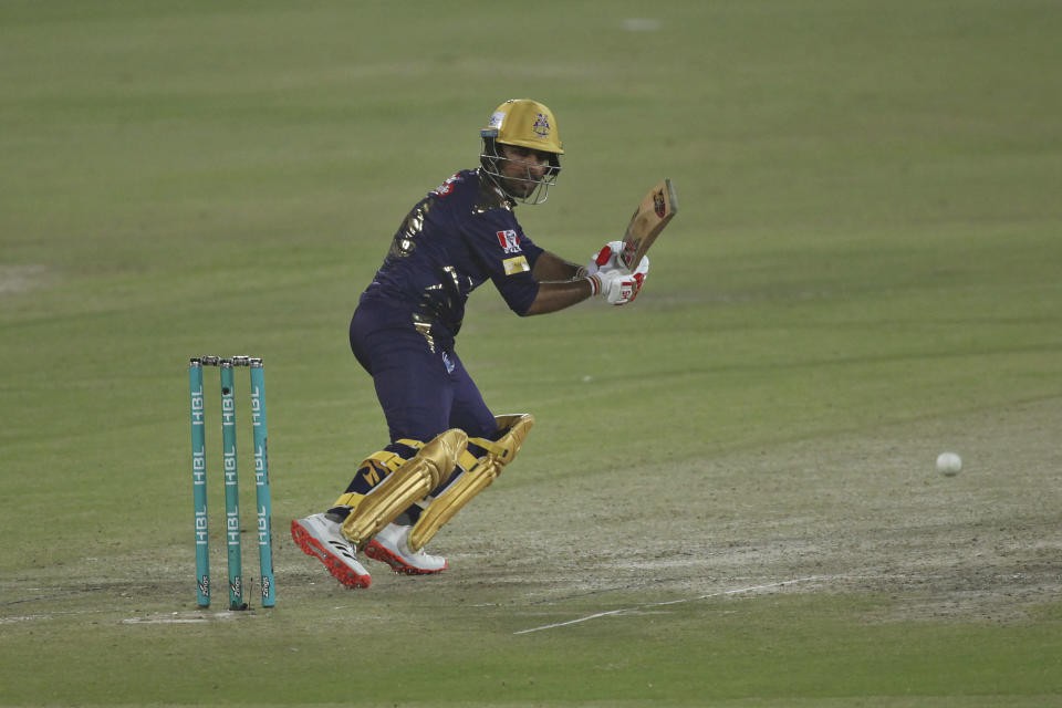 Quetta Gladiators' Sarfaraz Ahmed plays a shot during a Pakistan Super League T20 cricket match between Islamabad United and Quetta Gladiators at the National Stadium, in Karachi, Pakistan, Tuesday, March 2, 2021. (AP Photo/Fareed Khan)