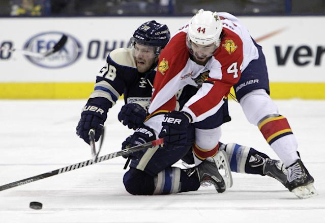 Florida Panthers' Erik Gudbranson, right, and Columbus Blue Jackets' Boone Jenner chase a loose puck during the second period of an NHL hockey game Saturday, Feb. 1, 2014, in Columbus, Ohio. (AP Photo/Jay LaPrete)
