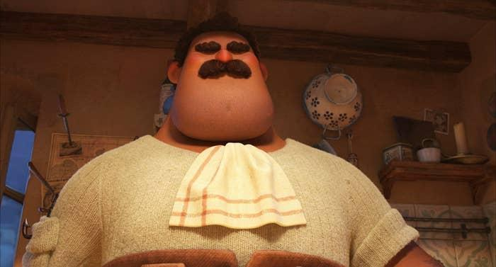 A very large man with bushy eyebrows and moustache.