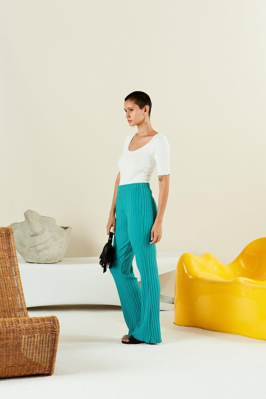 <p>If you choose to forgo the matching top, we'd recommend pairing <span>Simon Miller's Rib Cyrene Pant</span> ($170) with a tight-fitting bodysuit.</p>