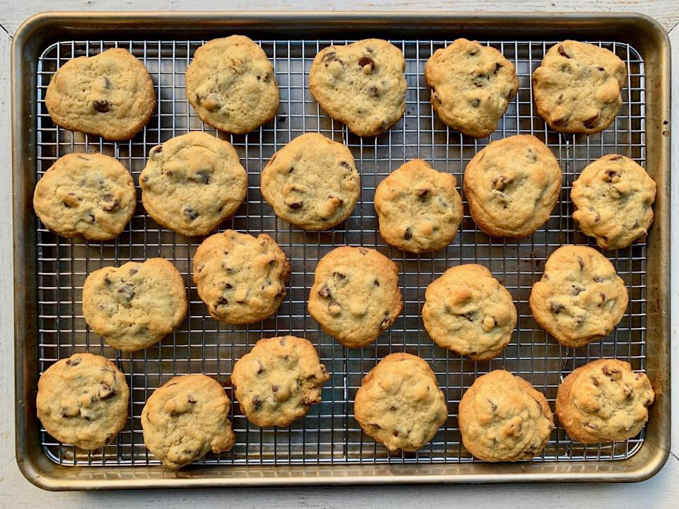"<p><strong>Recipe: </strong><a href=""http://www.southernliving.com/recipes/barbara-bush-chocolate-chip-cookies"" rel=""nofollow noopener"" target=""_blank"" data-ylk=""slk:Barbara Bush's Famous Chocolate Chip Cookies"" class=""link rapid-noclick-resp""><strong>Barbara Bush's Famous Chocolate Chip Cookies</strong></a></p> <p>If you want a chocolate chip cookie recipe that doesn't skimp on the chocolate chips, you've got to try this former first lady's recipe.</p>"