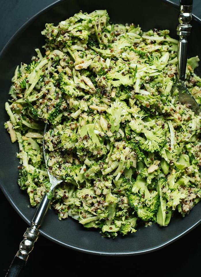 """<p><a href=""""http://cookieandkate.com/2015/quinoa-broccoli-slaw-recipe/"""" target=""""_blank"""" class=""""ga-track"""" data-ga-category=""""Related"""" data-ga-label=""""http://cookieandkate.com/2015/quinoa-broccoli-slaw-recipe/"""" data-ga-action=""""In-Line Links"""">Broccoli slaw</a> transforms from side dish to full-fledged meal when quinoa is added to the mix.</p>"""