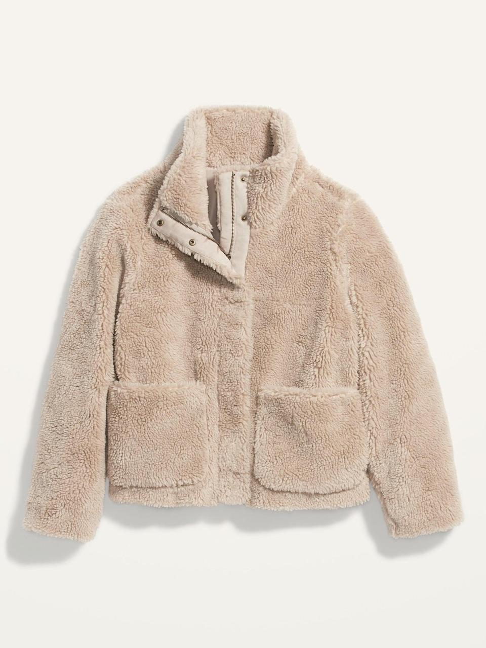 <p>They'll be the trendiest kid outside in this <span>Cozy Sherpa Faux-Fur Jacket</span> ($65).</p>