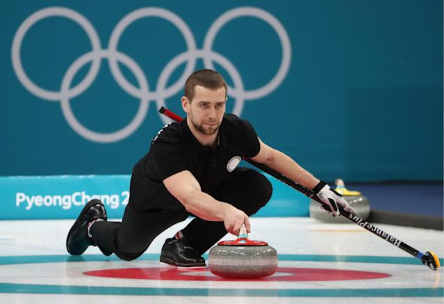 Alexander Krushelnitsky during the mixed doubles curling competition at the 2018 Winter Olympics. He has been formally charged with doping. (Getty)
