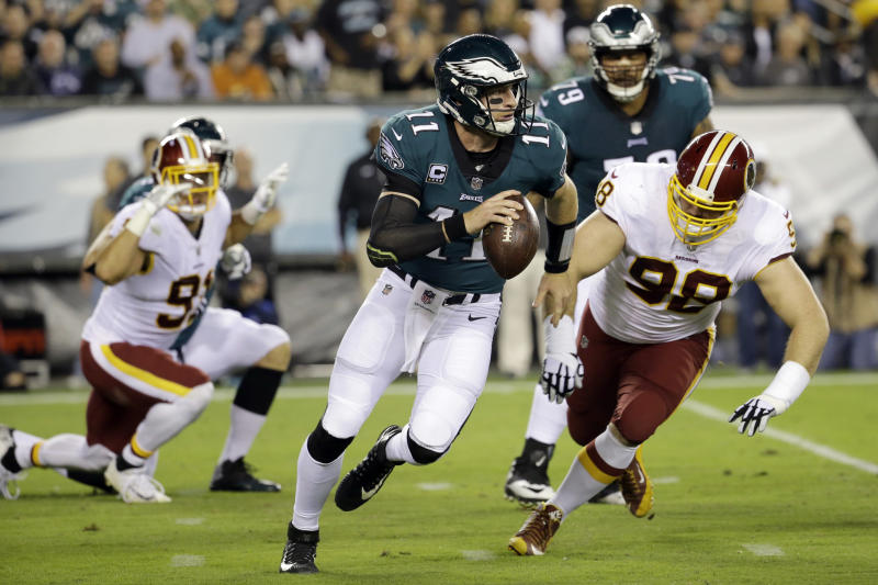 Philadelphia Eagles quarterback Carson Wentz had a great game on Monday night against Washington. (AP)