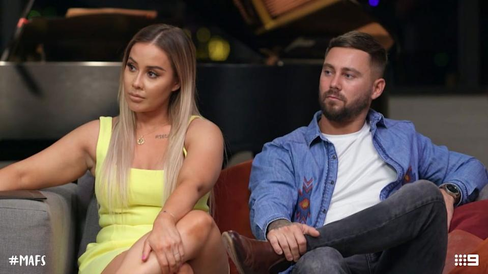 MAFS' Cathy and Josh have been having a very tough time in the last few weeks. Photo: Channel Nine