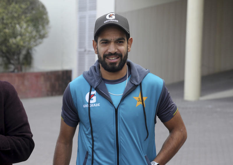 Pakistani cricketer Haris Rauf arrives to talk with media after a practice session in Lahore, Pakistan, Tuesday, Jan. 21, 2020. Pakistan's new pace sensation Rauf wants to play in all the three formats and hopes to carry his Big Bash League form into this week's Twenty20 series against Bangladesh at Lahore. (AP Photo/K.M. Chaudary)