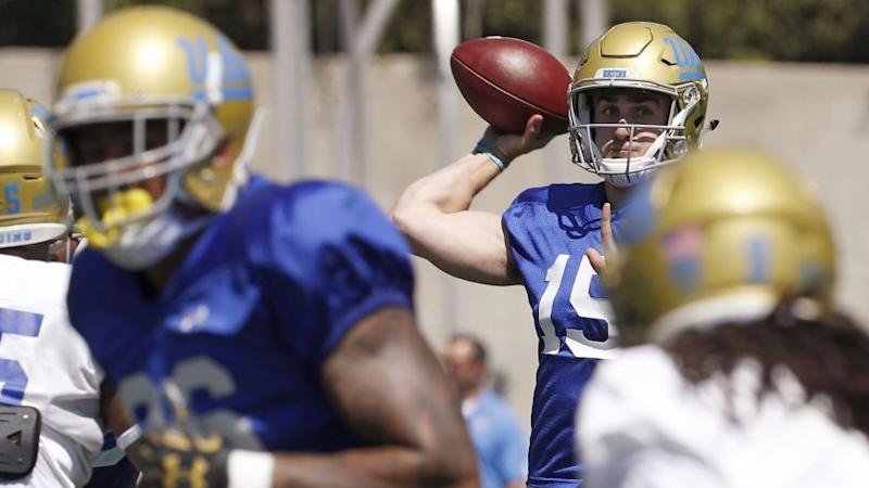 LOS ANGELES, CALIF. - APR. 21, 2018. UCLA quarterback Matt Lynch (15) throws downfield during the B