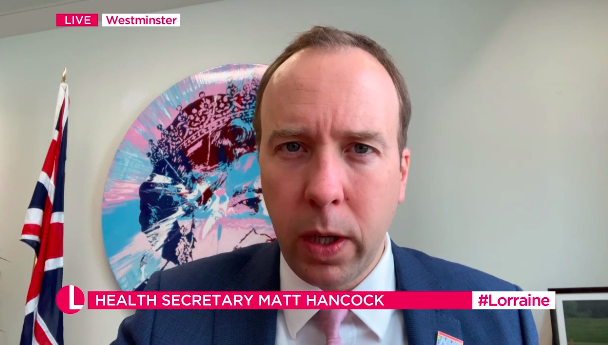 Matt Hancock said he loved appearing on ITV as he dodged a question about the 'GMB' boycott. (ITV)