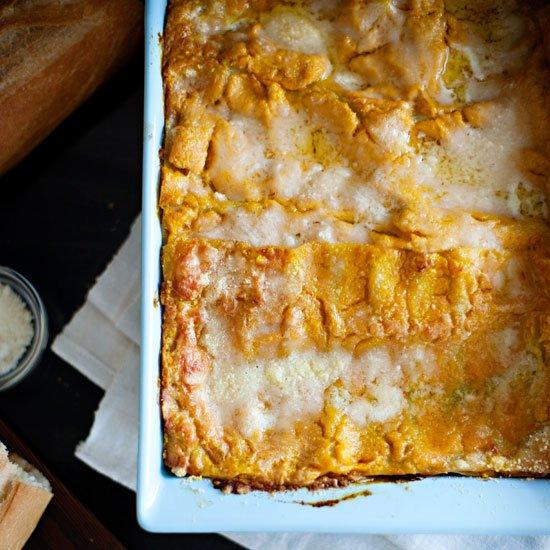 """<p>No need to roast fresh pumpkin for this dish (although you certainly could); using canned unseasoned pumpkin puree is much quicker, and it works just fine. Like most lasagnes, this one is easier to cut if left to set for ten minutes or so before serving.</p><p><a href=""""https://www.foodandwine.com/recipes/pumpkin-lasagne"""">GO TO RECIPE</a></p>"""