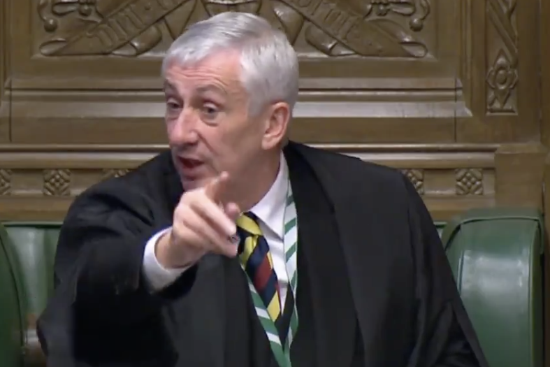 Speaker Lindsay Hoyle criticised the plan for MPs to vote in-person (Parliament TV)