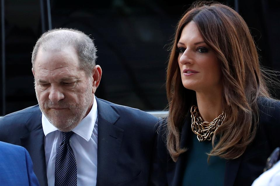 Film producer Harvey Weinstein and his attorney Donna Rotunno arrive at New York State Supreme Court for a hearing on hiring of new lawyers in his rape case in New York, U.S., July 11, 2019. REUTERS/Mike Segar