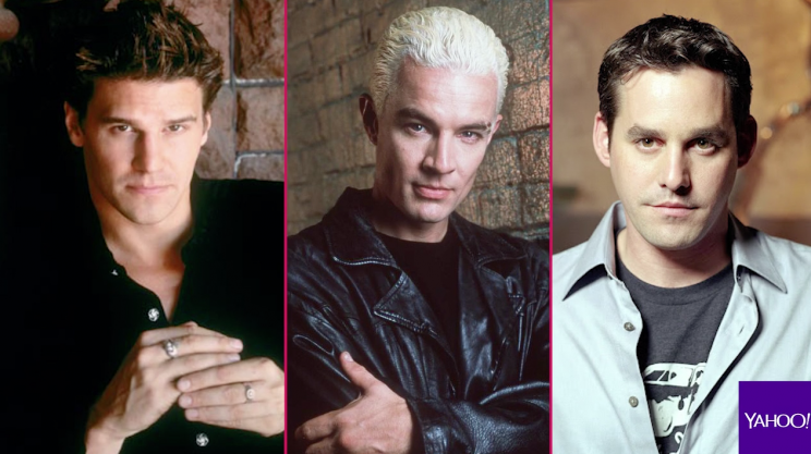 David Boreanaz (Angel), James Marsters (Spike), and Nicholas Brendon (Xander).