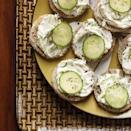 """<p>If party rye isn't available, use a cookie cutter to create rounds from regular bread slices (and make <a href=""""https://www.delish.com/cooking/recipe-ideas/a33462622/homemade-croutons-recipe/"""" rel=""""nofollow noopener"""" target=""""_blank"""" data-ylk=""""slk:croutons"""" class=""""link rapid-noclick-resp"""">croutons</a> from the rest).</p><p>Get the recipe from <a href=""""https://www.delish.com/cooking/recipe-ideas/recipes/a16981/cucumber-rye-tea-sandwiches-recipe-fw0811/"""" rel=""""nofollow noopener"""" target=""""_blank"""" data-ylk=""""slk:Delish"""" class=""""link rapid-noclick-resp"""">Delish</a>.</p>"""