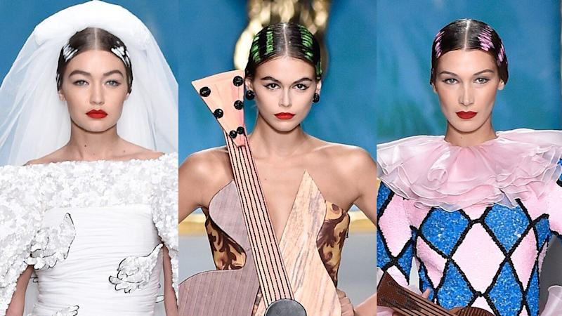 Bella, Gigi Hadid and Kaia Gerber Slay Moschino Fashion Show in Bold Art-Inspired Looks