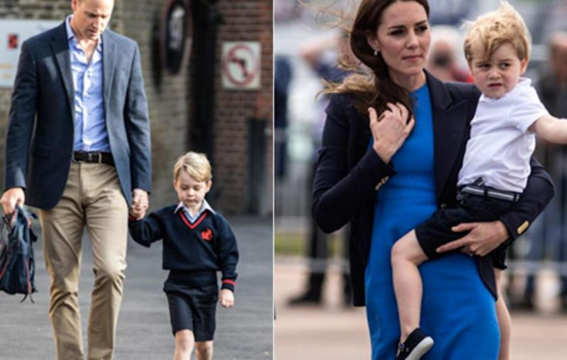Unfortunately the Duchess of Cambridge missed her son's first day of school. He was accompanied by his father Prince William. Source: Getty