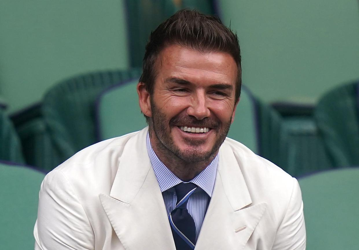 David Beckham in the royal box on centre court on day eleven of Wimbledon at The All England Lawn Tennis and Croquet Club, Wimbledon. Picture date: Friday July 9, 2021. (Photo by Adam Davy/PA Images via Getty Images)