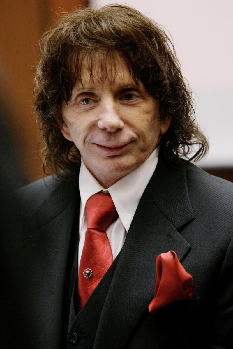 FILE -  In this Jan. 26, 2009, file photo music producer Phil Spector smiles during a hearing in his murder retrial, in Los Angeles County Superior Court in downtown Los Angeles. The California Supreme Court on Wednesday, Aug. 17, 2011, refused to hear the record producer's appeal of his murder conviction. (AP Photo/Nick Ut, file)