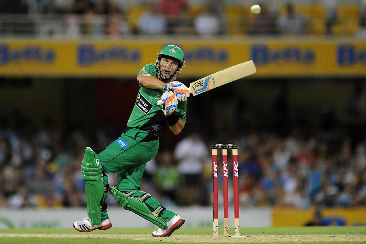 BRISBANE, AUSTRALIA - JANUARY 03:  Brad Hodge of the Stars bats during the Big Bash League match between the Brisbane Heat and the Melbourne Stars at The Gabba on January 3, 2013 in Brisbane, Australia.  (Photo by Matt Roberts/Getty Images)