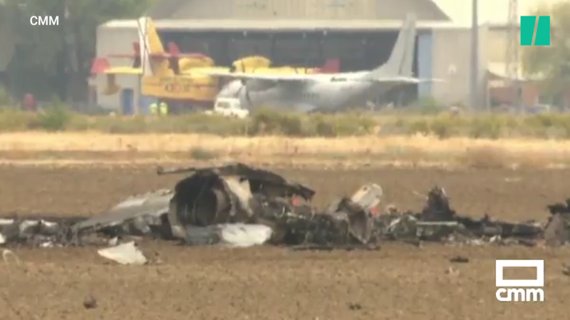 Crash d'un avion militaire à Madrid