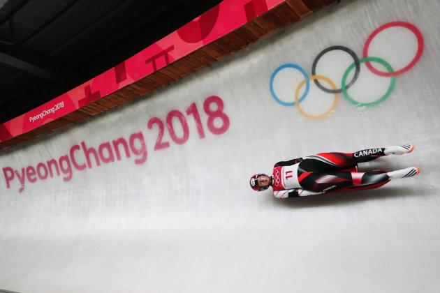 Alex Gough of Canada competing in women's luge at the 2018 PyeongChang Olympics.
