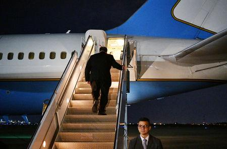 U.S. Secretary of State Mike Pompeo boards a plane before departing from Baghdad International Airport in Baghdad, Iraq May 7, 2019. Mandel Ngan/Pool via REUTERS