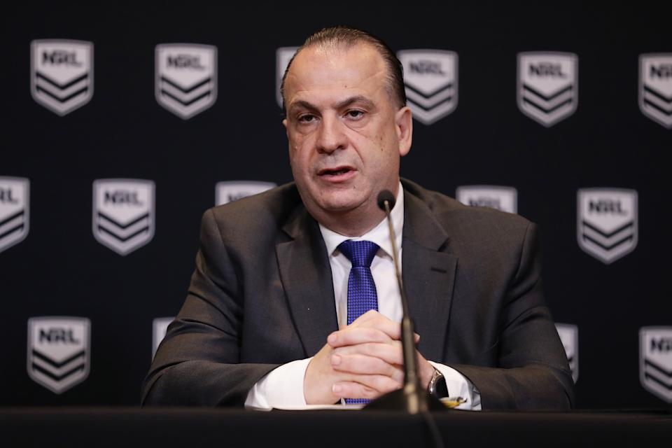 Australian Rugby League Commission Chairman Peter V'landys (pictured) during a media conference.