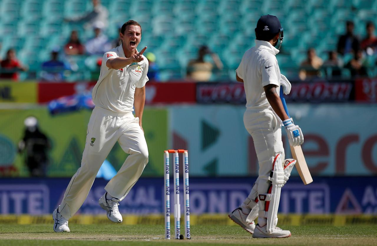 Cricket - India v Australia - Fourth Test cricket match - Himachal Pradesh Cricket Association Stadium, Dharamsala, India - 26/03/17 - Australia's Josh Hazlewood celebrates after dismissing India's Murali Vijay. REUTERS/Adnan Abidi      TPX IMAGES OF THE DAY