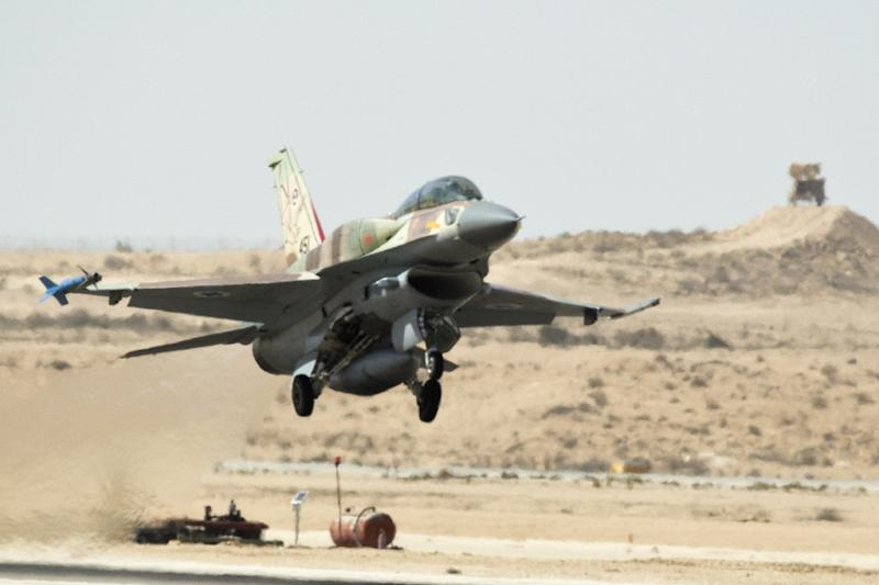 An F-16 fighter jet takes off from the Ramon air force base in the Negev Desert, southern Israel