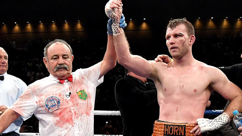 Jeff Horn, pictured here being awarded the win over Michael Zerafa.