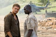 """<p>After a few years of historical biopics, DiCaprio got gritty in 2006, between <a href=""""https://ew.com/creative-work/the-departed/"""" rel=""""nofollow noopener"""" target=""""_blank"""" data-ylk=""""slk:The Departed"""" class=""""link rapid-noclick-resp""""><i>The Departed</i></a> and <a href=""""https://ew.com/creative-work/blood-diamond/"""" rel=""""nofollow noopener"""" target=""""_blank"""" data-ylk=""""slk:Blood Diamond"""" class=""""link rapid-noclick-resp""""><i>Blood Diamond</i></a>. And despite the prestige surrounding Martin Scorsese's gangster tale, it was instead South African gunrunner Danny Archer that brought Leo an Oscar nom this year. Much attention has been paid to DiCaprio's accent work in<i> Blood Diamond</i> (and <i>The Departed</i>), but behind that is a forgotten performance that, aided by fellow Oscar nominee <a href=""""https://ew.com/tag/djimon-hounsou/"""" rel=""""nofollow noopener"""" target=""""_blank"""" data-ylk=""""slk:Djimon Hounsou"""" class=""""link rapid-noclick-resp"""">Djimon Hounsou</a> as the true heart of the film, rises above everything else around them.</p> <p><b>Related: </b><a href=""""https://ew.com/article/2006/12/08/leonardo-dicaprios-blood-diamond-experience/"""" rel=""""nofollow noopener"""" target=""""_blank"""" data-ylk=""""slk:Leonardo DiCaprio's Blood Diamond experience"""" class=""""link rapid-noclick-resp"""">Leonardo DiCaprio's <i>Blood Diamond</i> experience</a> </p>"""