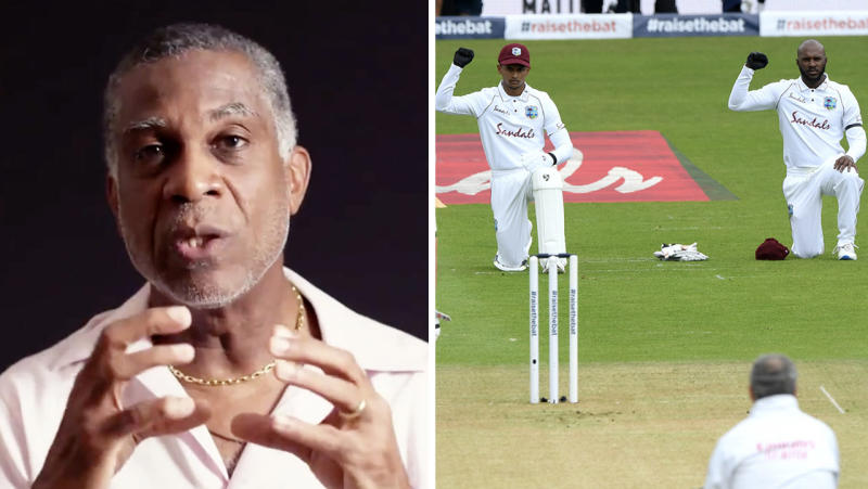 West Indies cricket legend Michael Holding (pictured left) speaking about racism and the West Indies cricket team taking a knee (pictured right).