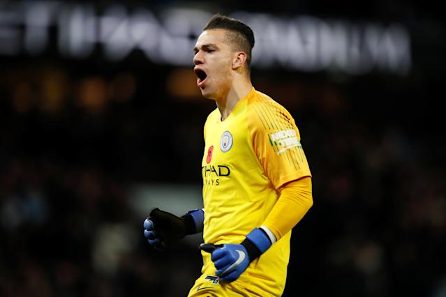 """Soccer Football - Premier League - Manchester City v Manchester United - Etihad Stadium, Manchester, Britain - November 11, 2018 Manchester City's Ederson celebrates after teammate Ilkay Gundogan scores their third goal Action Images via Reuters/Jason Cairnduff EDITORIAL USE ONLY. No use with unauthorized audio, video, data, fixture lists, club/league logos or """"live"""" services. Online in-match use limited to 75 images, no video emulation. No use in betting, games or single club/league/player publications. Please contact your account representative for further details."""