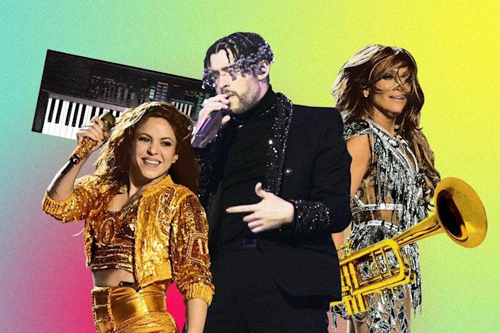 (L-R) Musical artists Shakira, Bad Bunny and Jennifer Lopez. Credit: Kevin Winter/Getty Images; Andrew Gombert / Los Angeles Times; Illustration by Ross May