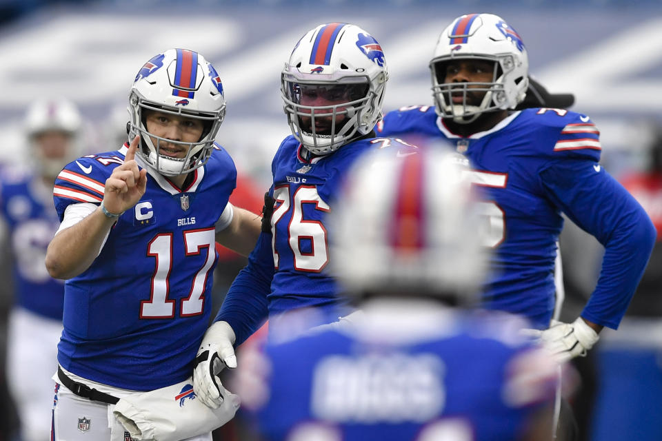 Buffalo Bills quarterback Josh Allen (17) will be featured in prime time during the divisional round of the NFL playoffs. (AP Photo/Adrian Kraus)
