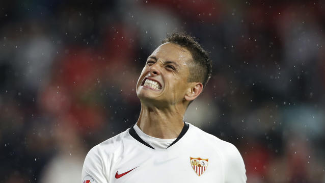 Sevilla's Chicharito reacts during the Spanish La Liga soccer match between Sevilla and Levante at the Ramon Sanchez-Pizjuan stadium in Seville, Spain, Sunday, Oct. 20, 2019. (AP Photo/Miguel Morenatti)