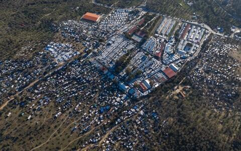 An image taken with a drone shows the Moria refugee camp on Lesbos - Credit: DIMITRIS TOSIDIS/EPA-EFE/REX