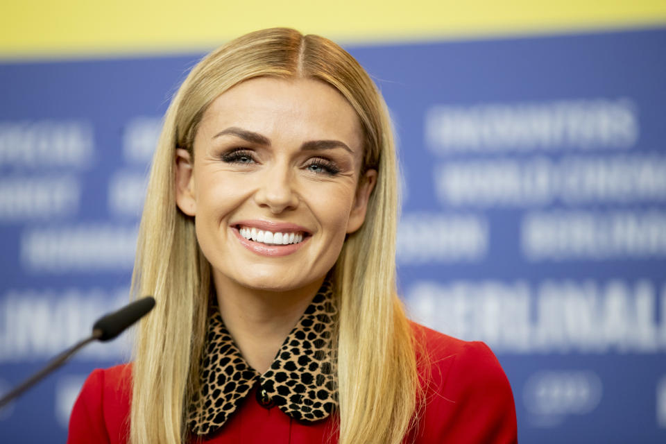 """21 February 2020, Berlin: 70th Berlinale, press conference, special gala, """"Minamata"""": Katherine Jenkins, actress. The International Film Festival takes place from 20.02. to 01.03.2020. Photo: Christoph Soeder/dpa (Photo by Christoph Soeder/picture alliance via Getty Images)"""
