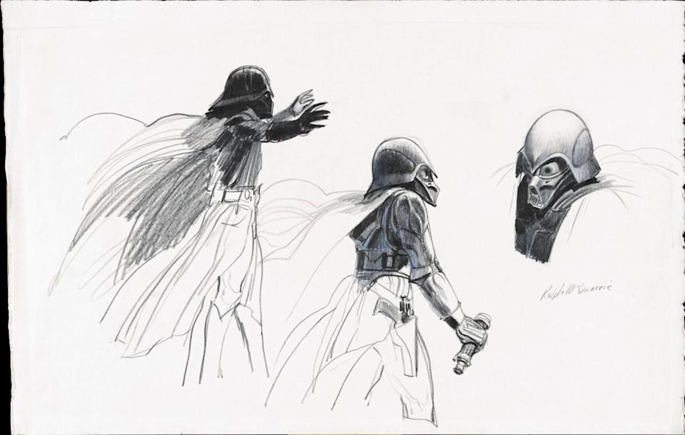 "<p>""There aren't a whole range of different ideas, just a few simple sketches that were the immediate genesis of these now-beloved characters,"" says Alinger of the early Artoo and Vader drawings. (Earlier reproductions of this sketch softened the features; the authors say this is the first time it has been accurately reproduced.) </p>"