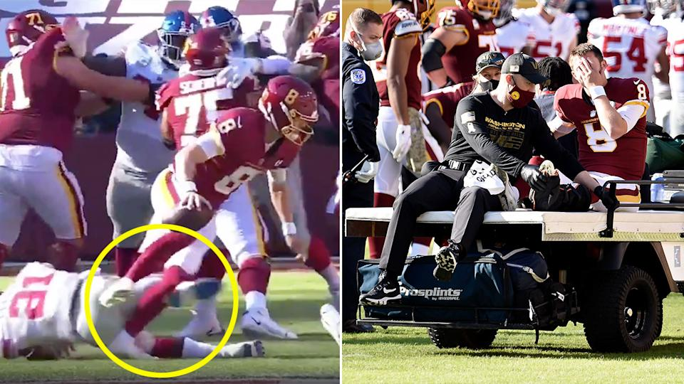 Pictured here, Kyle Allen's leg was twisted back awkwardly in a tackle by New York.