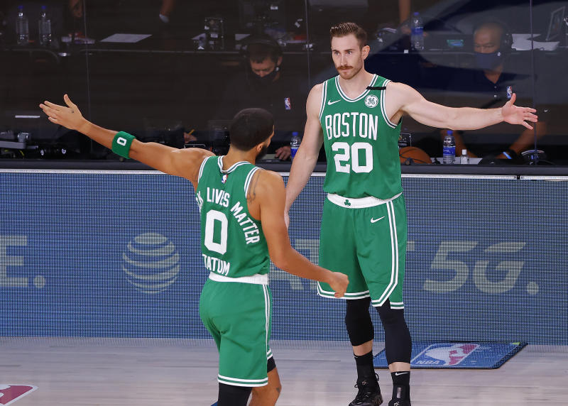 Gordon Hayward and Jayson Tatum of the Boston Celtics